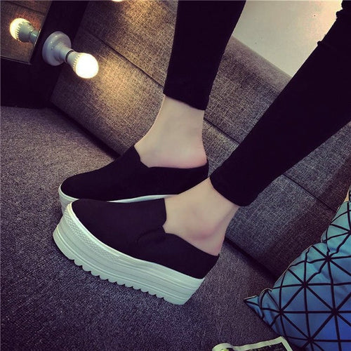 Slip On Canvas Loafer Wedges
