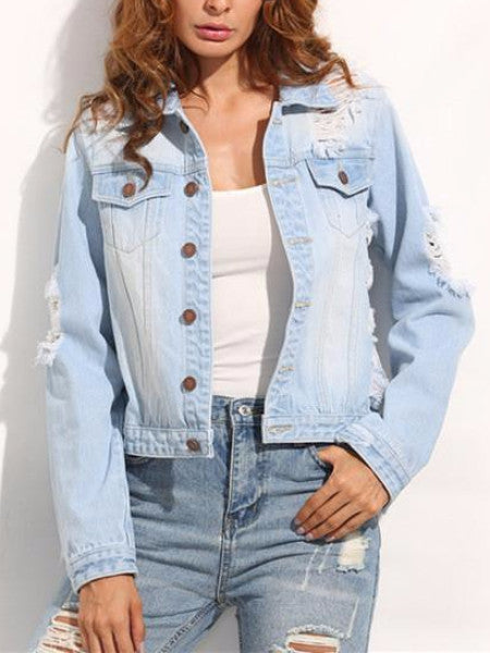 Ripped Single Breasted Denim Jacket