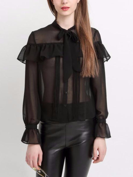 Black Tulle Ruffled Shirt