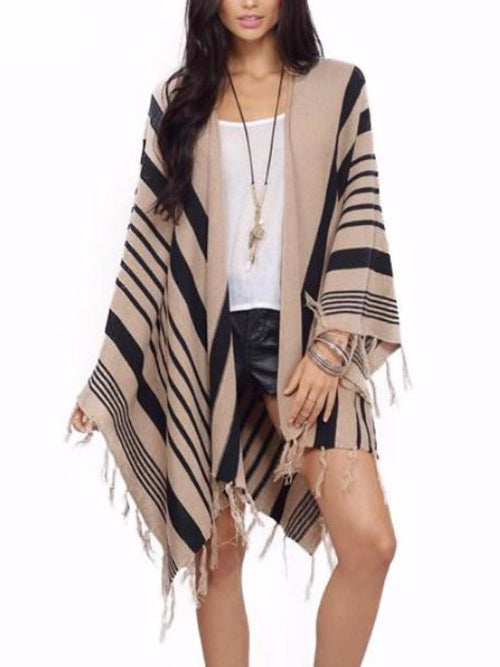 Knitted Striped Poncho Wrap