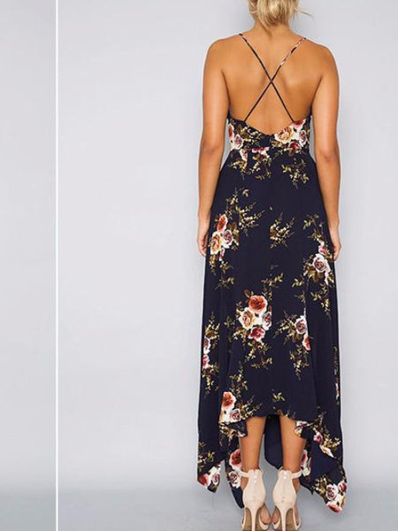 Floral Asymmetrical Flare Maxi Dress