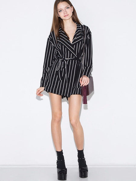 Blazer Style Wrapped Stripe Rompers