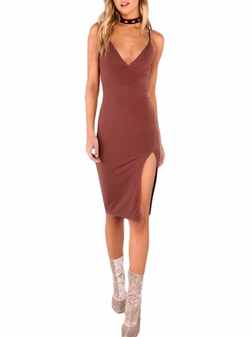 High Split Brown Cami Dress