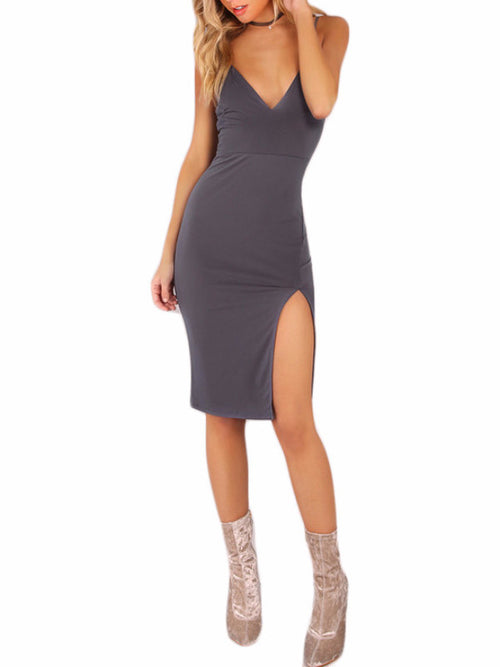 High Split Grey Cami Dress