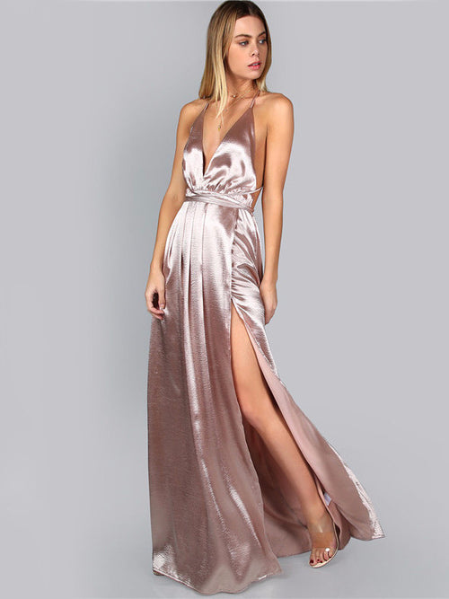 Satin Lilac High Slit Maxi Dress
