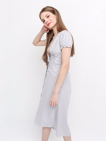Deep V Neck Asymmetrical Striped Dress