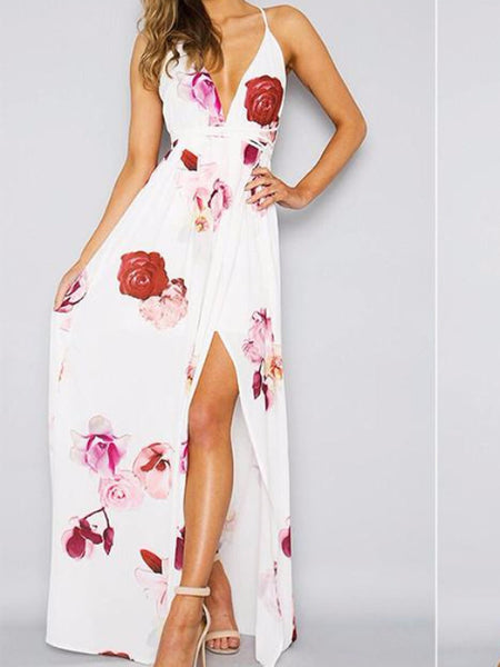 Floral Cross Back Maxi Dress