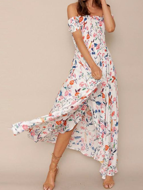 Aves Off Shoulder High Slit Maxi Dress