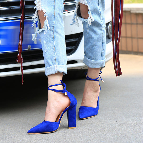 Faux Suede Pointed Lace Up Heels