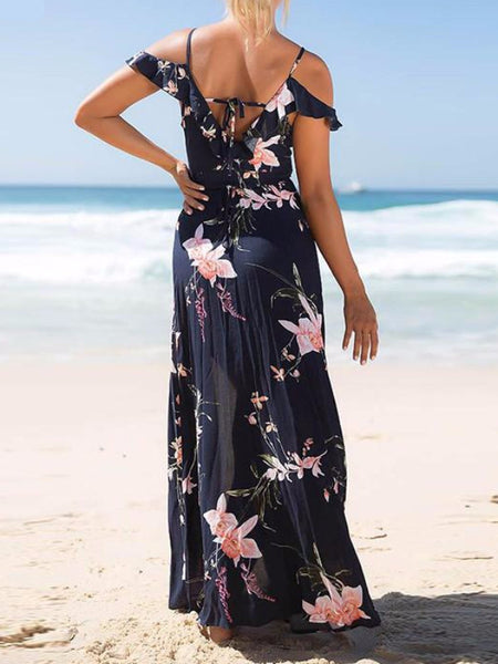 Pink Flowers Cold Shoulder Maxi Dress