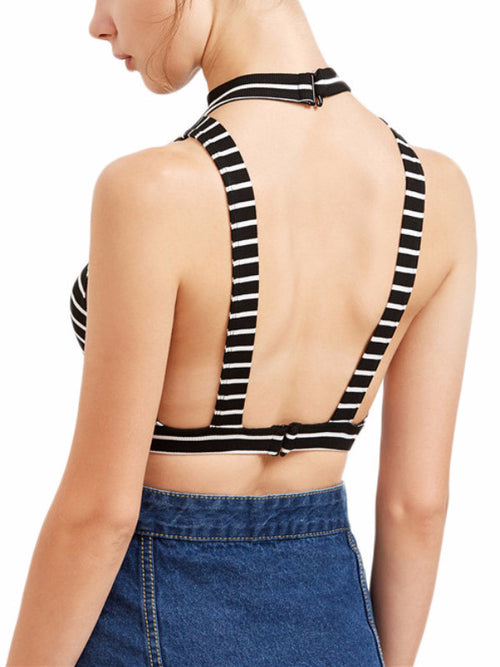 Open Back Striped Crop Top