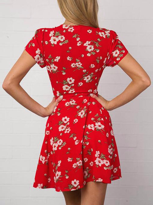 Red Deep V Floral Mini Dress