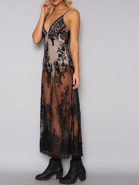 Lace Bodysuit Maxi Dress