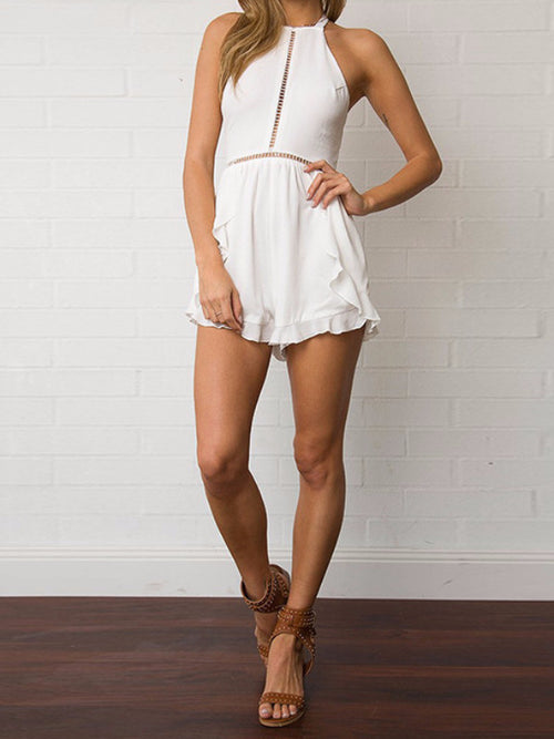 White Cut Out Halter Frill Romper