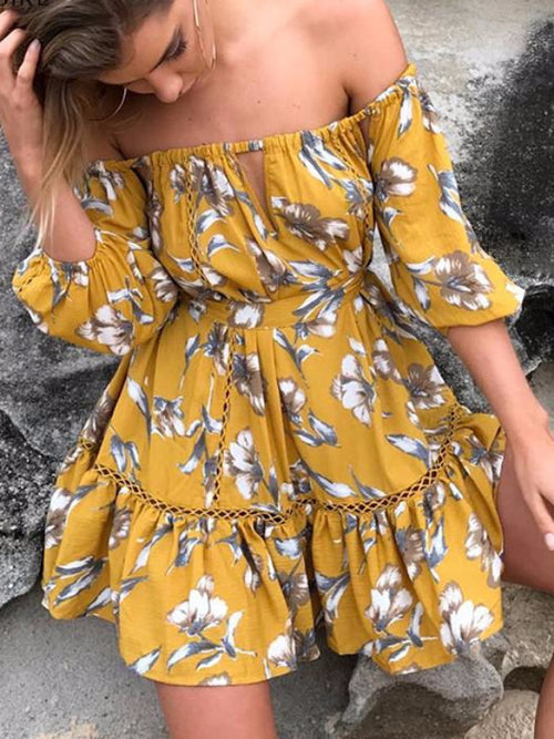 Mustard Off Shoulder Floral Mini Dress
