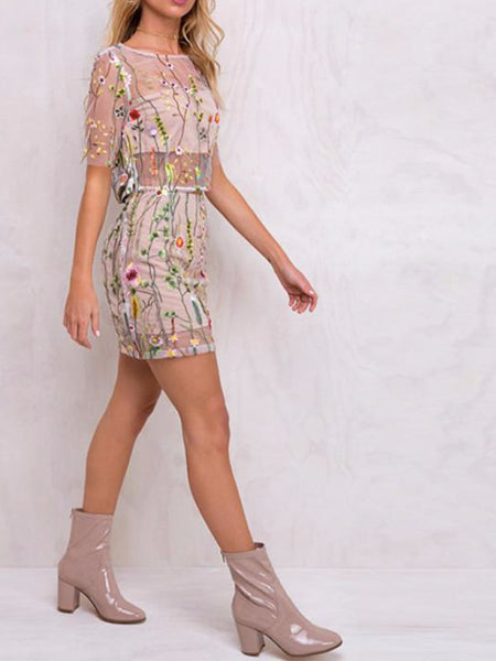 Floral Embroidery Mesh Two Piece Set