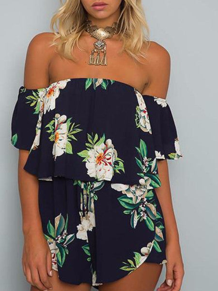 Off Shoulder Floral Layered Romper