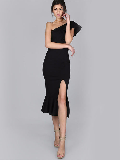 One Shoulder Peplum Hem Split Dress