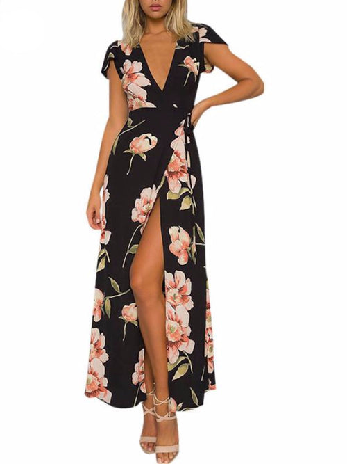 Black Floral Cap Sleeve Maxi Dress
