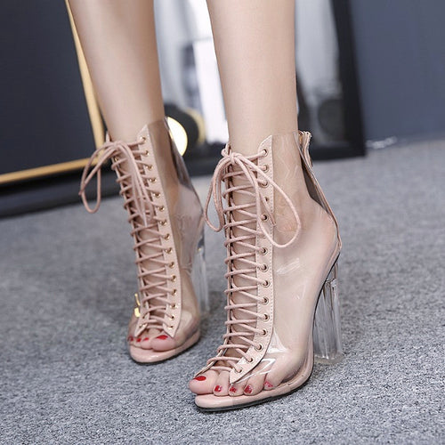 Sexy Transparent Lace Up Heels