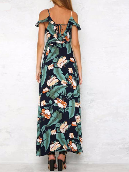 Cold Shoulder Tropical Maxi Dress
