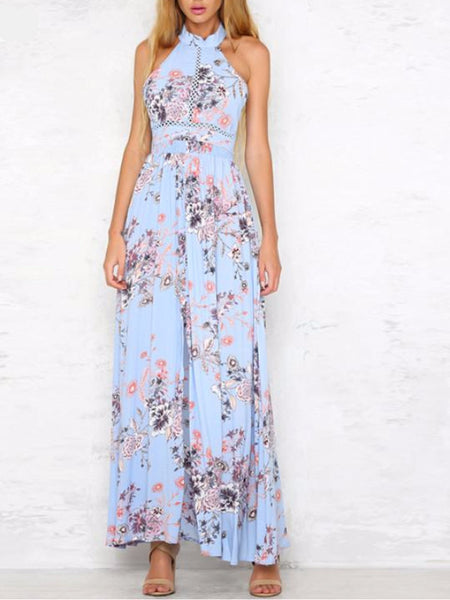 Sunflower Bareback High Slit Maxi Dress