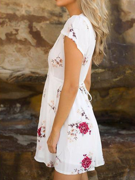 Floral Cap Sleeve Mini Dress