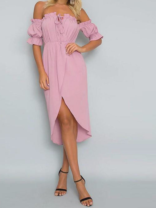 Off Shoulder Drawstring Tulip Beach Dress