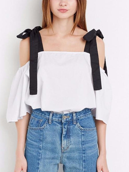 Bow Strap Cold Shoulder Blouse