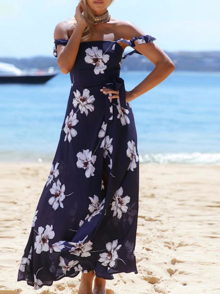 Navy Cold Shoulder Floral Maxi Dress