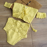 Off Shoulder Crochet Knitted Bikini