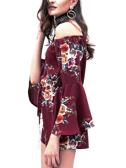 Wine Red Floral Flare Sleeve Playsuit