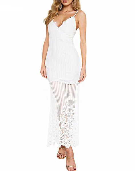 Thin Straps Lacy Striped Maxi Dress