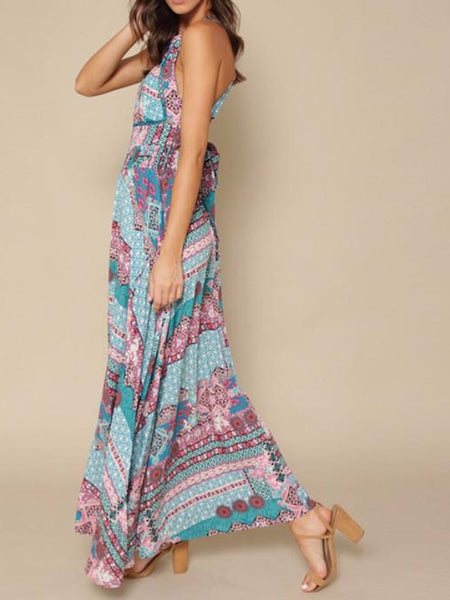 Aztec Bareback High Slit Maxi Dress