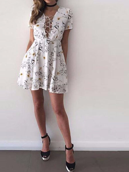 Lace Up Floral Mini Dress