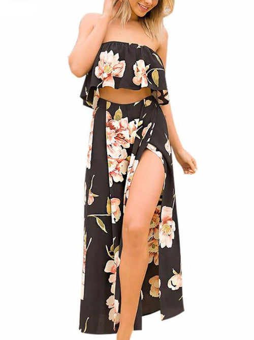 Black Floral Split Pants Two Piece Set