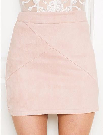 Faux Suede High Waist Skirt
