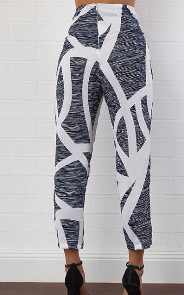 Grey Abstract High Waist Tie Pants