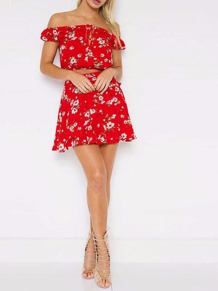 Red Floral Two Piece Set