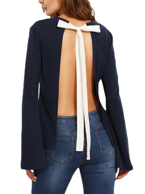 Navy Tie Back Blouse