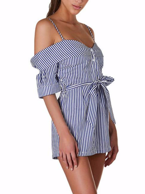 Foldover Cold Shoulder Striped Playsuit