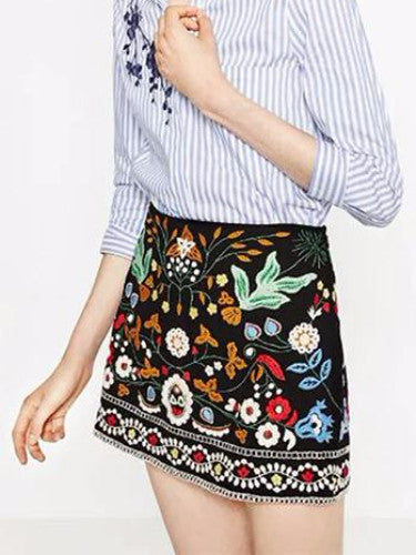 Boho Floral Embroidery Mini Skirt
