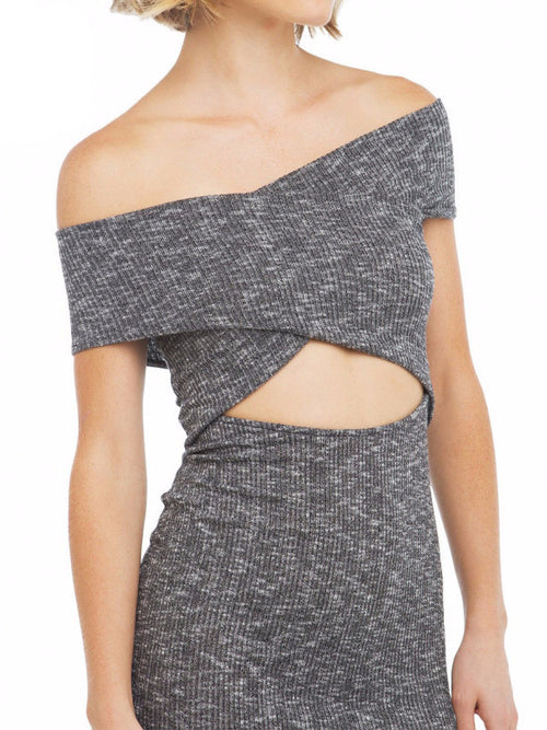 Wrap Shoulder Grey Rib Dress