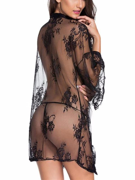 Sexy Black Lace Robes