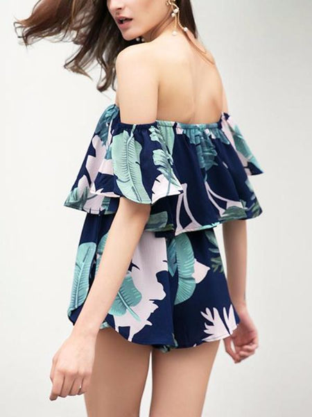 Fallen Leaves Ruffles Playsuit