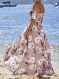 Off Shoulder Pink Flare Maxi Dress