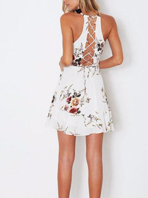 Sleeveless Ruffles Lace Back Mini Dress