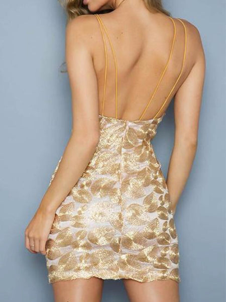 Metallic Petals Embroidery Mini Dress