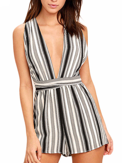 Strapover Cross Back Striped Playsuit