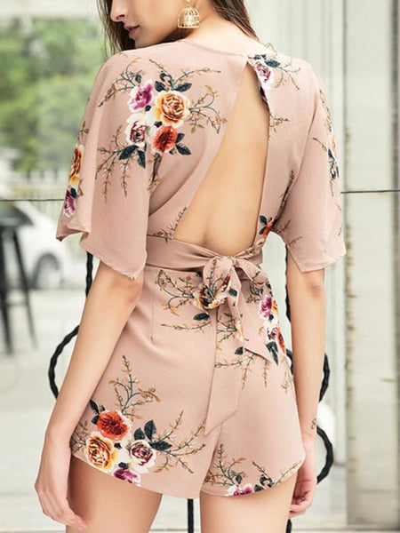 Deep V Flare Sleeve Backless Romper